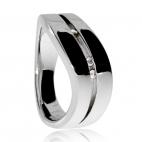 Stříbrný dámský prsten s diamanty - Špičatý tvar