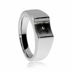 Dámský stříbrný prsten s diamantem - Středová prohlubeň nesoucí kámen