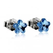 Stříbrné náušnice - Modré květy
