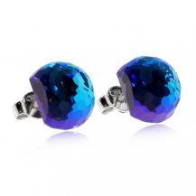 Stříbrné náušnice Preciosa Miltonia Bermuda Blue 6249 46