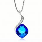 Stříbrný náhrdelník Preciosa Butterfly Dream Bermuda Blue 6295 46L - 45cm