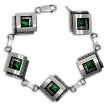 Stříbrný náramek - Zdvojené čtverce zdobené malachitem