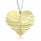 Stříbrný náhrdelník pozlacený - Vlnité srdce s krystaly Swarovski