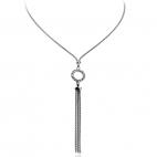 Stříbrný náhrdelník se zirkony (kubická zirkonie) doplněný posázeným kolem na středu
