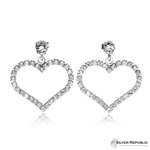 Stříbrné visací náušnice  - Obrys srdce s kamínky