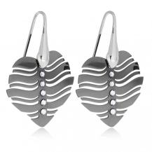Stříbrné náušnice - Černá srdce zdobená křišťálem Swarovski