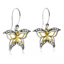 Stříbrné náušnice s křišťálem Swarovski  - Zlacení motýlci