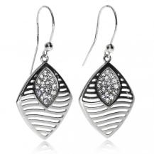 Stříbrné náušnice -Zvlněné linie a  krystaly Swarovski