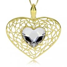 Stříbrný pozlacený přívěsek ve tvaru srdce s krystalem Swarovski na středu