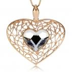 Stříbrný přívěsek - Zlacené srdce s křišťálem Swarovski uprostřed
