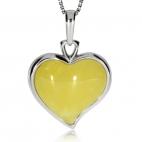 Stříbrný přívěsek s jantarem mléčné barvy - Srdce