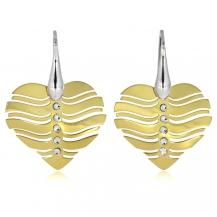 Stříbrné visací náušnice - Srdce se Swarovki krystalem ve zlaté barvě