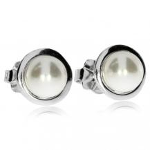 Stříbrné náušnice se syntetickou perlou v obrubě