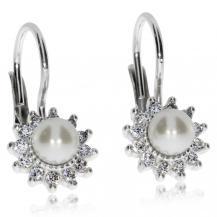 Stříbrné náušnice se syntetickou perlou a zirkony (kubická zirkonie)