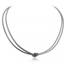 Stříbrný visací náhrdelník s ozdobným uzlem uprostřed