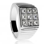 Stříbrný prsten se zirkony (kubická zirkonie) pro muže