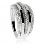 Stříbrný prsten se třemi řadami zirkonových kamínků (cubic zirconia