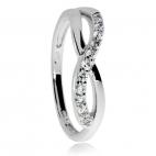 Stříbrný prsten se symbolem Infinity zdobený zirkony (kubická zirkonie