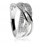 Stříbrný prsten se zikonem (kubická zirkonie) - Čtyři linie