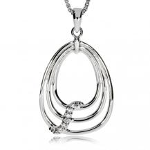 Stříbrný přívěsek ve tvaru kapky se zirkony (kubická zirkonie