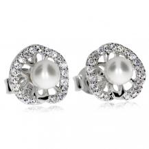 Stříbrné kulaté náušnice zdobené říční perlou a  zirkony (kubická zirkonie