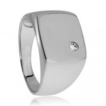 Stříbrný pánský prsten s kamenem (kubická zirkonie