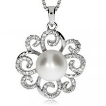 Stříbrný přívěsek se zirkony (kubická zirkonie) a říční perlou  - Spirálky