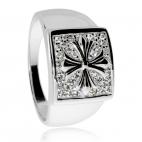 Stříbrný prsten pro muže s liliovým (pisánským) křížkem