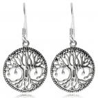 Stříbrné náušnice na háček - Strom života v kruhu