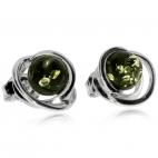 Stříbrné náušnice - Kulatý zelený jantar ve spirálovité obrubě