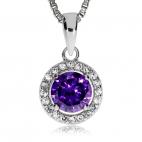 Stříbrný přívěsek se zirkonem - Kulatý s fialovým středovým kamenem
