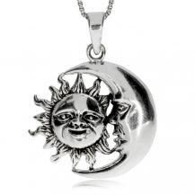 Stříbrný přívěsek - Slunce a Měsíc ve starostříbře\ně