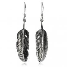 Stříbrné visací náušnice - Jemná  ptačí pera