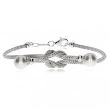 Stříbrný náramek - Ozdobná smyčka se syntetickými perlami