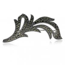 Stříbrná brož s markazity ve tvaru větvičky