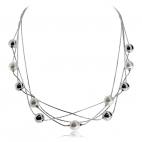 Stříbrný náhrdelník - Čtyři řady řetízků s kuličkami a perlami