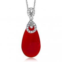 Stříbrný náhrdelník Preciosa Ruby Glow Siam 6786 63L - 45cm
