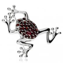 Stříbrná brož s granáty - Žabka, Granát Turnov