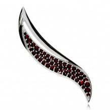 Stříbrná brož s granáty - Elegance, Granát Turnov