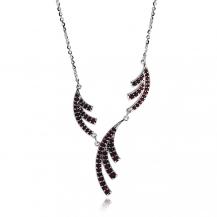 Stříbrný náhrdelník s českými granáty - Asymetrie, Granát Turnov