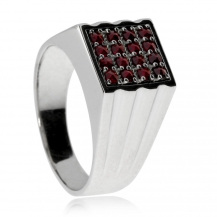 Pánský stříbrný prsten s českým granátem, Granát Turnov