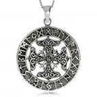 Stříbrný přívěsek - Kruh s runami a křížem