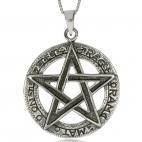 Stříbrný přívěsek - Pentagram s nápisy v kruhu