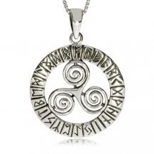 Stříbrný přívěsek - Tři spojené spirály v kruhu s runami