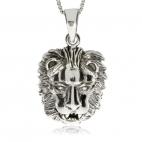 Stříbrný přívěsek - Lví hlava lesklá