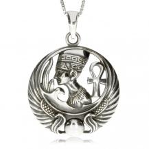 Stříbrný přívěsek - Faraon s egyptskými symboly v kruhu