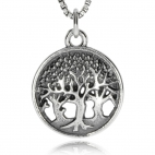 Stříbrný přívěsek - Tři stromy života v kruhu