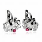Stříbrné dětské náušnice - Sloníci s růžovými kamínky