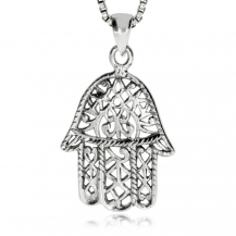 Stříbrný přívěsek - Amulet ruka Fátimy (Hamsa