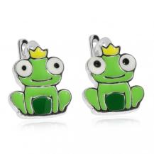 Dětské stříbrné náušnice - Zelená žabička s korunou